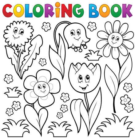 Kleurboek met bloem thema 6 - eps10 vector illustratie.