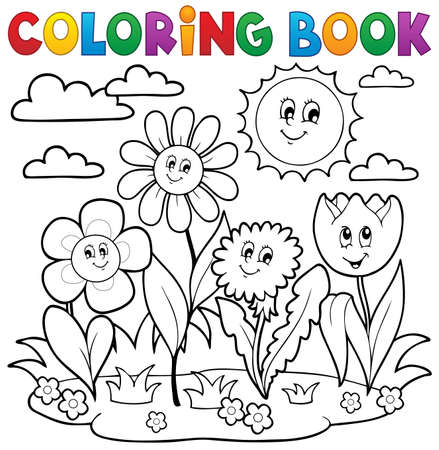 Coloring book with flower theme 7 - eps10 vector illustration.
