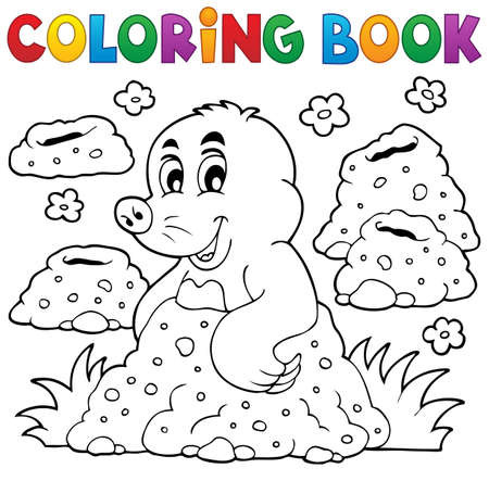 den: Coloring book with happy mole theme 1 - eps10 vector illustration.