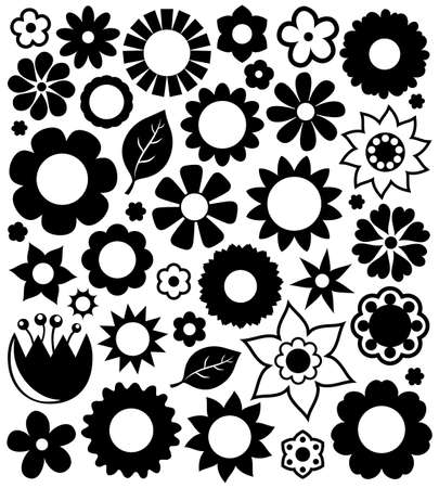 eps10 vector: Flower silhouettes collection 1 - eps10 vector illustration.