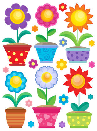 flowerpots: Flower theme collection 2 - eps10 vector illustration.