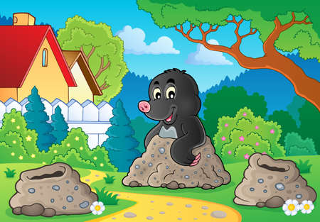 burrow: Happy mole theme image 2 - eps10 vector illustration. Illustration