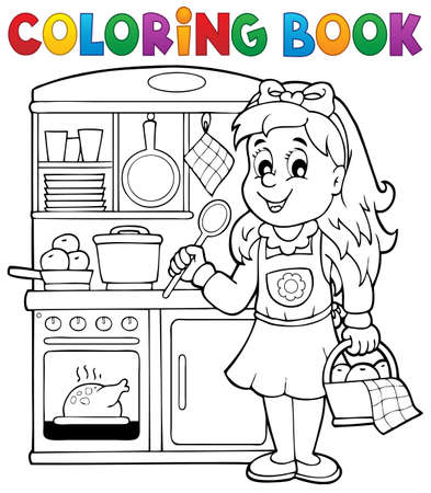 kitchen aprons: Coloring book child playing theme 1 - eps10 vector illustration.