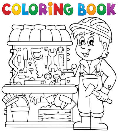 see saw: Coloring book child playing theme 2 - eps10 vector illustration.