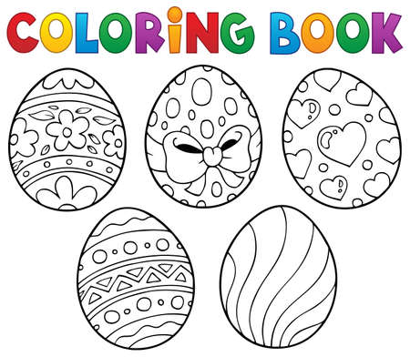 Coloring book Easter eggs theme 1 - eps10 vector illustration. 矢量图像