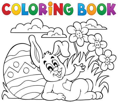 Coloring book Easter rabbit theme 2 - eps10 vector illustration.