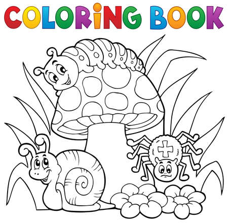Kolorowanka muchomor ze zwierzętami - eps10 ilustracji wektorowych. Ilustracje wektorowe