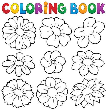 flower art: Libro da colorare con fiori tema 8 - illustrazione vettoriale eps10.