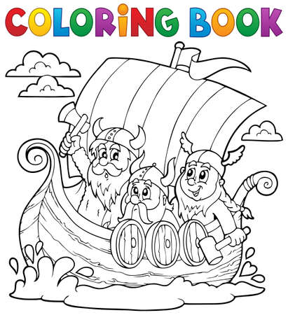 ships: Coloring book with Viking ship - eps10 vector illustration. Illustration