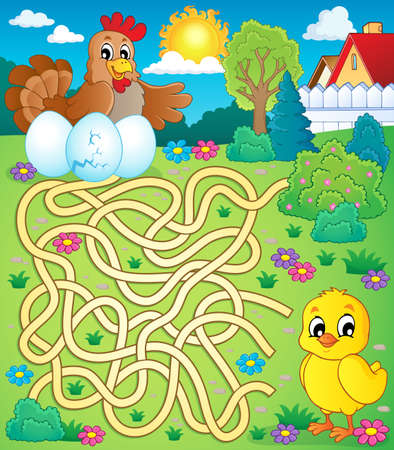 maze: Maze 4 with hen and chicken - eps10 vector illustration.