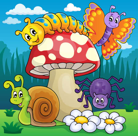 Toadstool with animals on meadow - eps10 vector illustration. Vector