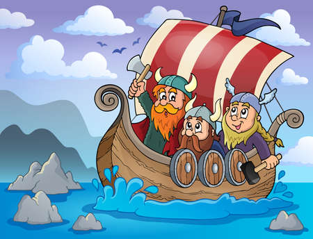 Viking ship theme image 2 - eps10 vector illustration.