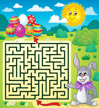 domestic task: Maze 3 with Easter theme - eps10 vector illustration. Illustration