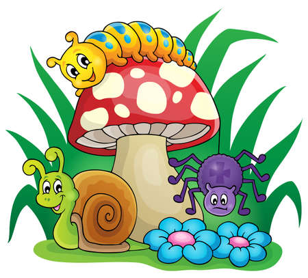 centipede: Toadstool with small animals - eps10 vector illustration. Illustration