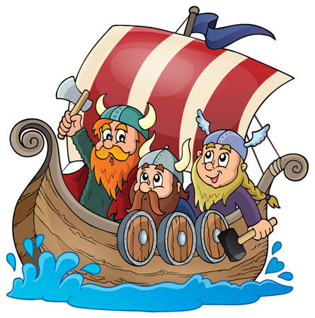 Viking ship theme image 1 - eps10 vector illustration. Çizim