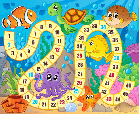 Board game image with underwater theme 1 - eps10 vector illustration. Ilustracja