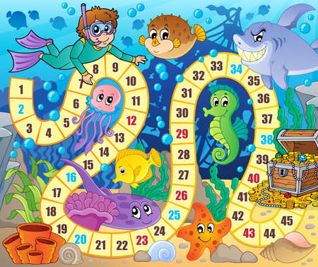diving board: Board game image with underwater theme 2 - eps10 vector illustration.