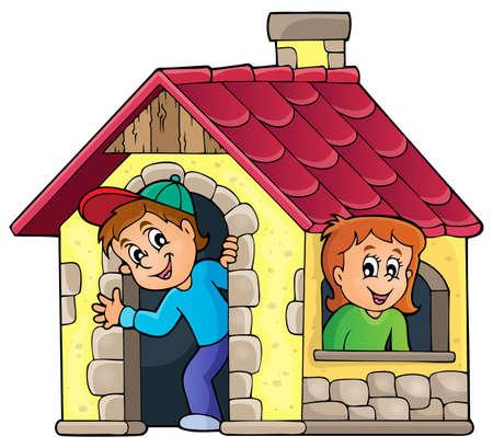 Enfants jouant dans une petite maison thème - eps10 illustration vectorielle. Vecteurs