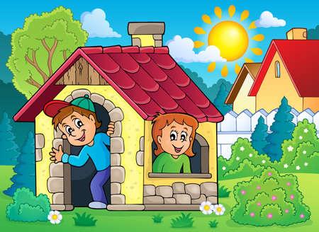 Enfants jouant dans petite maison thème 2 - eps10 illustration vectorielle.