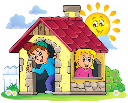 small children: Children playing in small house theme 3 - eps10 vector illustration. Illustration