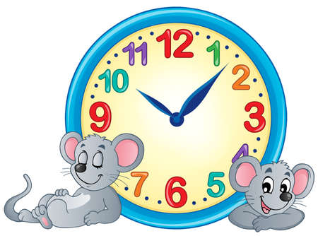 mouse animal: Clock theme image 4 - eps10 vector illustration. Illustration