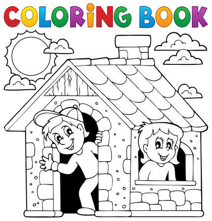 Coloring book children playing in house - eps10 vector illustration. Vector