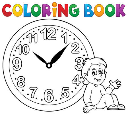digits: Coloring book clock theme 1 - eps10 vector illustration.