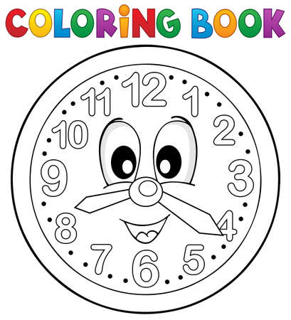 numbers clipart: Coloring book clock theme 2 - eps10 vector illustration.