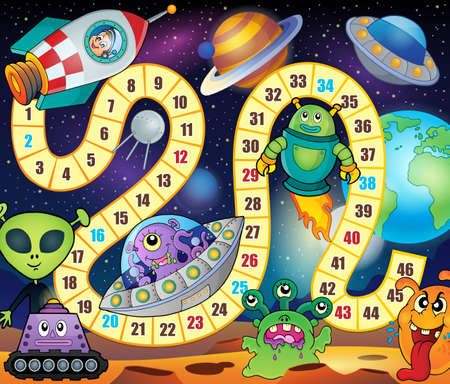 spaceship: Desk game theme image 1 - eps10 vector illustration.