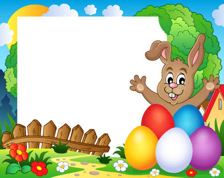 Frame with Easter rabbit theme 2 - eps10 vector illustration. Vector