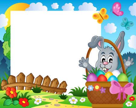 Frame with Easter rabbit theme 3 - eps10 vector illustration.