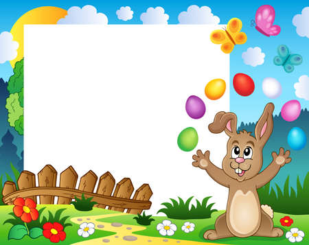 juggle: Frame with Easter rabbit theme 4 - eps10 vector illustration.