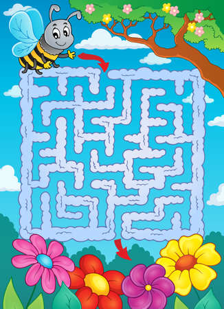 a bough: Maze 2 with bee and flowers - eps10 vector illustration.