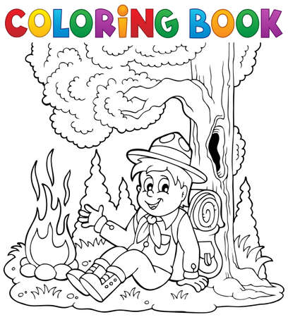 Coloring book scout boy theme