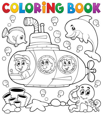 submarino: Colorear libro submarino tema