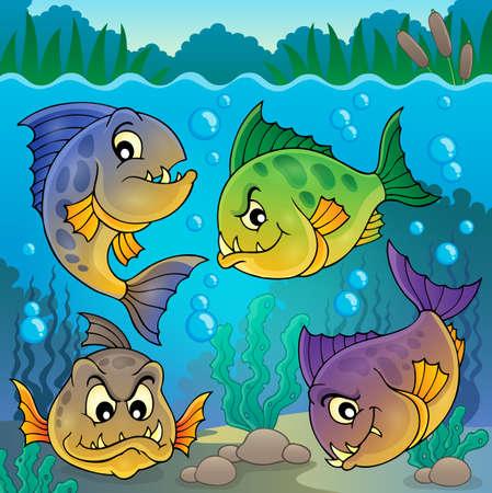 underwater fishes: Four piranha fishes underwater  Illustration