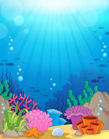 테마: 해양 수중 테마 배경 일러스트