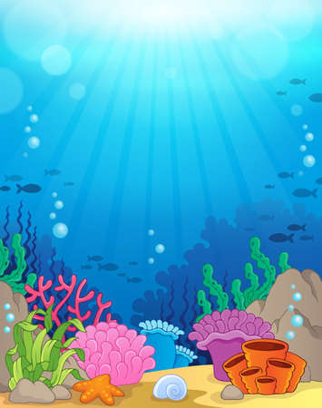 bottom: Ocean underwater theme background Illustration