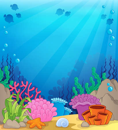 bottom of sea: Ocean underwater theme background Illustration