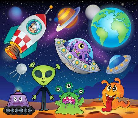 Rode planeet fantasy thema Stock Illustratie
