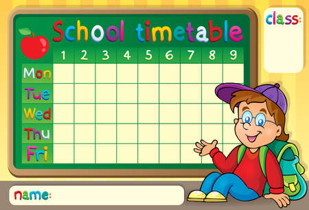 time table: School timetable with happy boy  Illustration