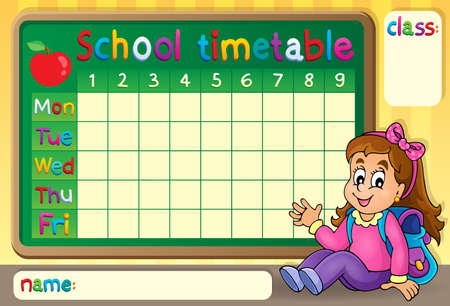 time table: School timetable with happy girl Illustration