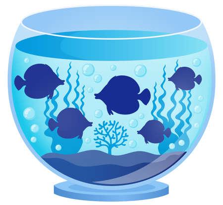 fishbowl: Aquarium with fish silhouettes 1 - eps10 vector illustration. Illustration