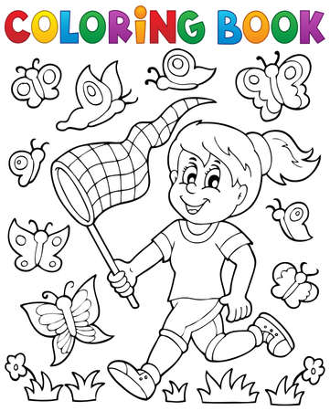 butterfly net: Coloring book girl chasing butterflies - eps10 vector illustration.