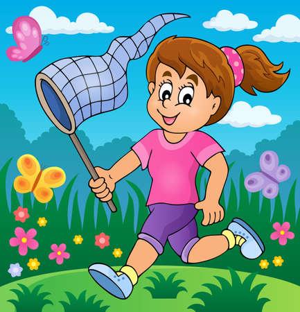 Girl chasing butterflies theme image 2 - eps10 vector illustration. Illustration