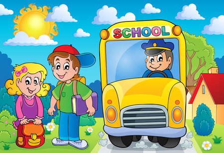 vector school: Image with school bus topic 7 - eps10 vector illustration.