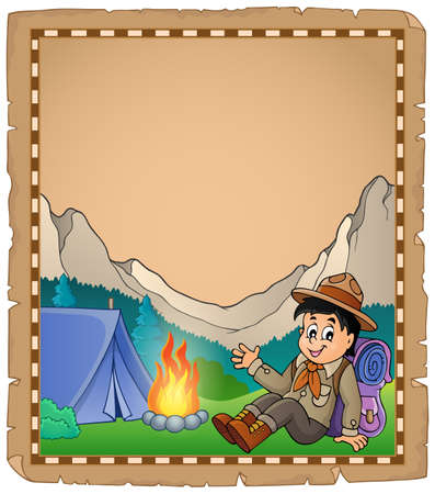 scout: Parchment with scout boy in mountain - eps10 vector illustration. Illustration