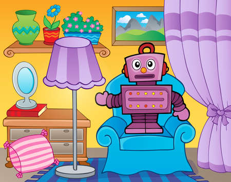 retro robot: Room with retro robot - eps10 vector illustration.
