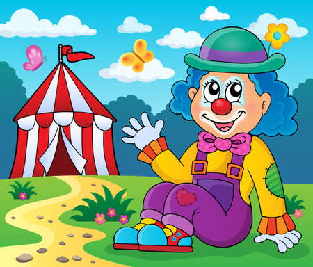 clown: Sitting clown theme image 4 - eps10 vector illustration.