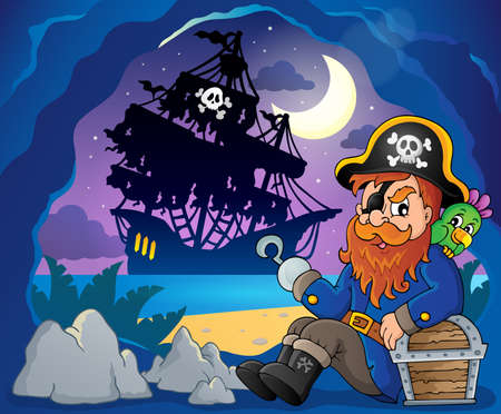 eyepatch: Sitting pirate theme image 3 - eps10 vector illustration.